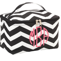 Monogrammed  MakeUp Bag Cosmetic Bag Black Chevron
