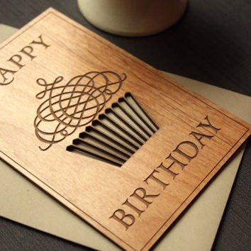 Wood Birthday Card with Cupcake