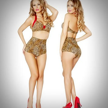 Pinup Swimsuits - 2 PC. High Waist Pinup Swimsuit Set in Leopard Print & Red