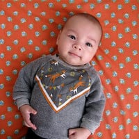 $29.00 Fox print baby sweatshirt heather grey by supayana on Etsy