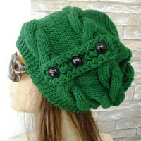 Womens Hat -  Knit hat -  Cable knit hat  - Slouchy Hat with Button -  Pine Green   Hat -   Winter fashion Accessories - Winter Hat