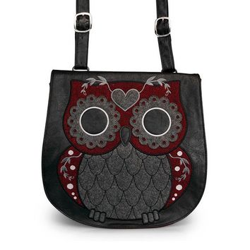 Tweed Owl Crossbody Messenger Bag by Loungefly (Grey/Burgundy)