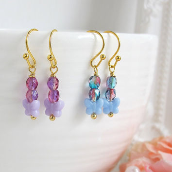 Spring Flutters. Butterfly Dangle Drop Earrings. Purple and Blue Butterflies Ear Jewelry. Minimalist. Nature Inspired Bridal, Flower Girl