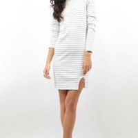 White and Black Striped Long Sleeve Dress