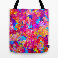 FLORAL FANTASY Bold Abstract Flowers Acrylic Textural Painting Neon Pink Turquoise Feminine Art Tote Bag by EbiEmporium