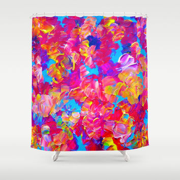 FLORAL FANTASY Bold Abstract Flowers Acrylic Textural Painting Neon Pink Turquoise Feminine Art Shower Curtain by EbiEmporium