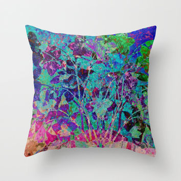glittering floral Throw Pillow by clemm