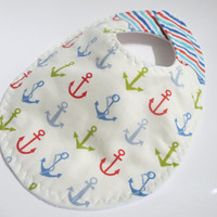 Baby Boy Bib, Nautical Baby Boy, Anchors, Triple Layer Bib, Bib with Snaps or Velcro