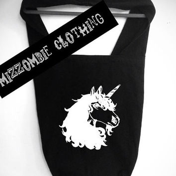 UNICORN purse over the shoulder large Sling 100% Cotton bag, carry on, grunge, rocker, rock, goth, MAGIC