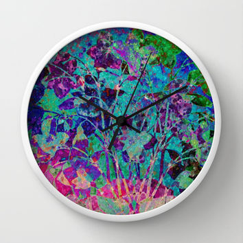 glittering floral Wall Clock by clemm
