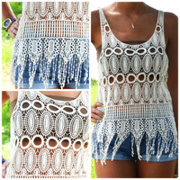 Moon Melody Natural Crochet Tank