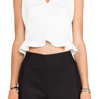 Robert Rodriguez Flounced Crop Top in White