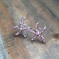 Pink Rhinestone Starfish Earrings - Rhinestone Starfish Stud Earrings - Silver tone Stud Earrings, Starfish Post Earrings