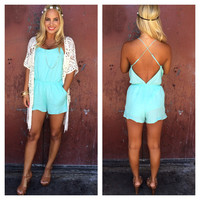 Coastline Romper With Pockets - MINT