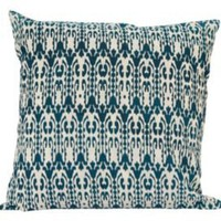 One Kings Lane - Worldly Goods - 18x18 Reversible Pillow, Blue/White