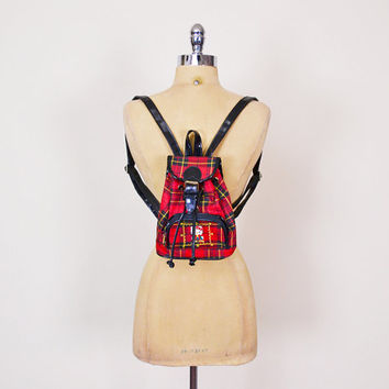 Hello Kitty Black Patent Red Plaid Backpack Rucksack Bag Purse Small Backpack Mini Backpack 90s Backpack 90s Grunge Backpack Punk Club Kid