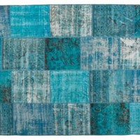 "Turquoise Overdyed Rug, 6'5"" x 9'8"" - One Kings Lane - Vintage & Market Finds - Floor Coverings"