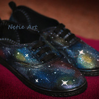 Nebula galaxy cosmic lace up shoes by NetieArt on Etsy