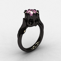 Natures Nouveau 14K Black Gold Light pink Topaz Wedding Ring, Engagement Ring NN105-14KBGLPT