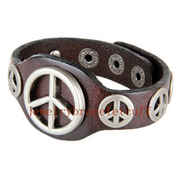 Antique silver Peace studs bracelet bangle leather cuff bracelet women leather bracelet men cuff bracelet men jewelry women jewelry  UL-6