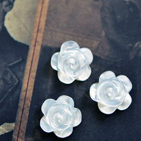 White Mother of Pearl Flower Cabochon Beads 40091 by SomeSupplies