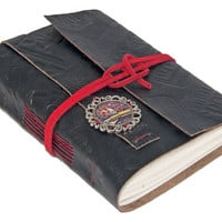 Embossed Black Leather Wrap Journal with Lined Paper and Steampunk Cameo Bookmark