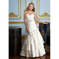 Taffeta and Organza Sweetheart Neckline Mermaid Gown and Tiered Ruffled Wedding Dress - Basadress.com