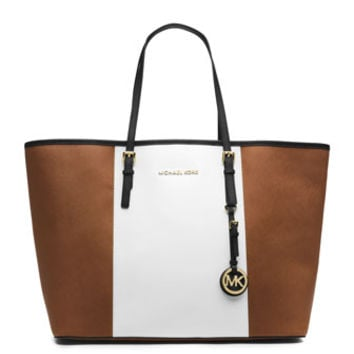 MICHAEL Michael Kors Medium Jet Set Center-Stripe Travel Tote