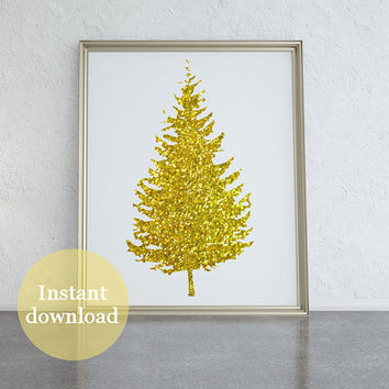 Printable Gold glitter Christmas tree, Christmas print, home decor, seasonal art that sparkles, cool art for Christmas, seasonal wall art