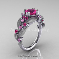 Nature Classic 14K White Gold 1.0 Ct Pink Sapphire Leaf and Vine Engagement Ring R340S-14KWGPS
