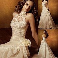 Buy Elegant Taffeta A-line High Collar Neckline Wedding Dress