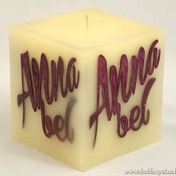 Custom Name Gift •  Personalized Name Monogram Candle • Made to Order • handmade wooden marquetry