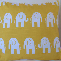 Two 2 Decorative Yellow and White Elephant Pillow by HochePoche