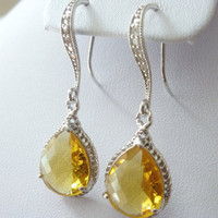Yellow Earrings Citrine Earrings Glass by MyTinyStarShining