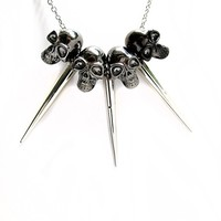 Skulls & Spikes Necklace (Silver Toned)