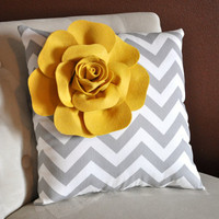 Mellow Yellow Corner Rose on Gray and White Zigzag by bedbuggs