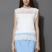 White cutout top and blue skirt set