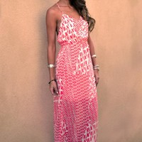 Coral and White Printed Maxi Dress
