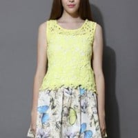 Yellow crochet top and printed skirt set