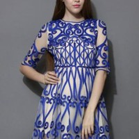 Blue patterned mesh dress