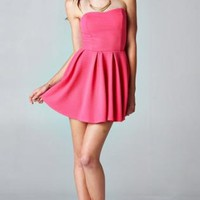 Strapless Pink Pleated Skater Dress