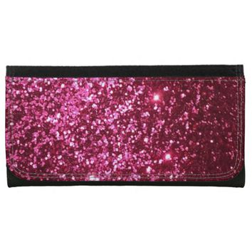 Pink Glitter Large Leather Wallet