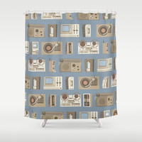 Obsolete Technology Shower Curtain by Daniel long Illustration