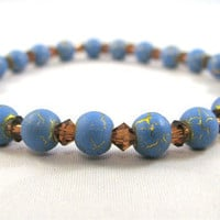Blue Glass and Brown Swarovski Crystal Bracelet on Elastic by Jewelry by KAS