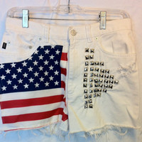 Vintage White American Flag High waisted studded by RiskyBunny