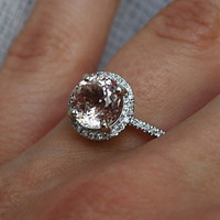 on hold final payment-2.25ct round Peach sapphire Champagne sapphire ring diamond ring 14k white gold Engagement ring
