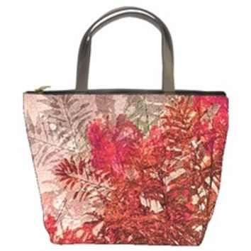 Decorative Flowers Collage Bucket Handbag