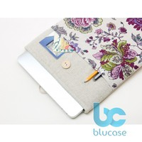 Linen macbook case with violet flowers pocket and wooden button closure