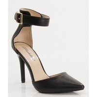 Breckelle Isabel-01 Faux Leather PointyToe Ankle Strap Kitten Heel Pump BLACK