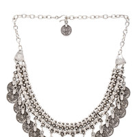 Natalie B Jewelry Priceless Chest Necklace in Metallic Silver